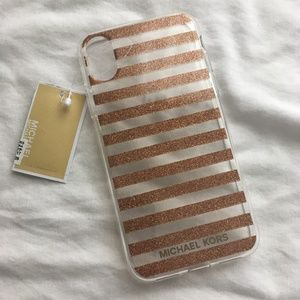 NWT Michael Kors iPhone X Case Glitter Rose Gold